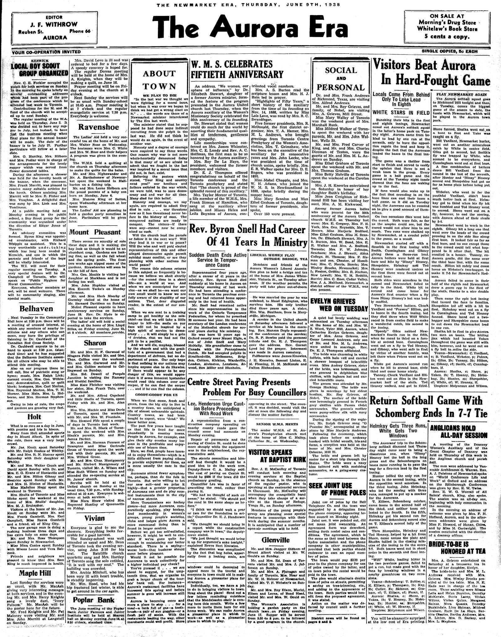 Newmarket Era (Newmarket, ON1861), June 9, 1938
