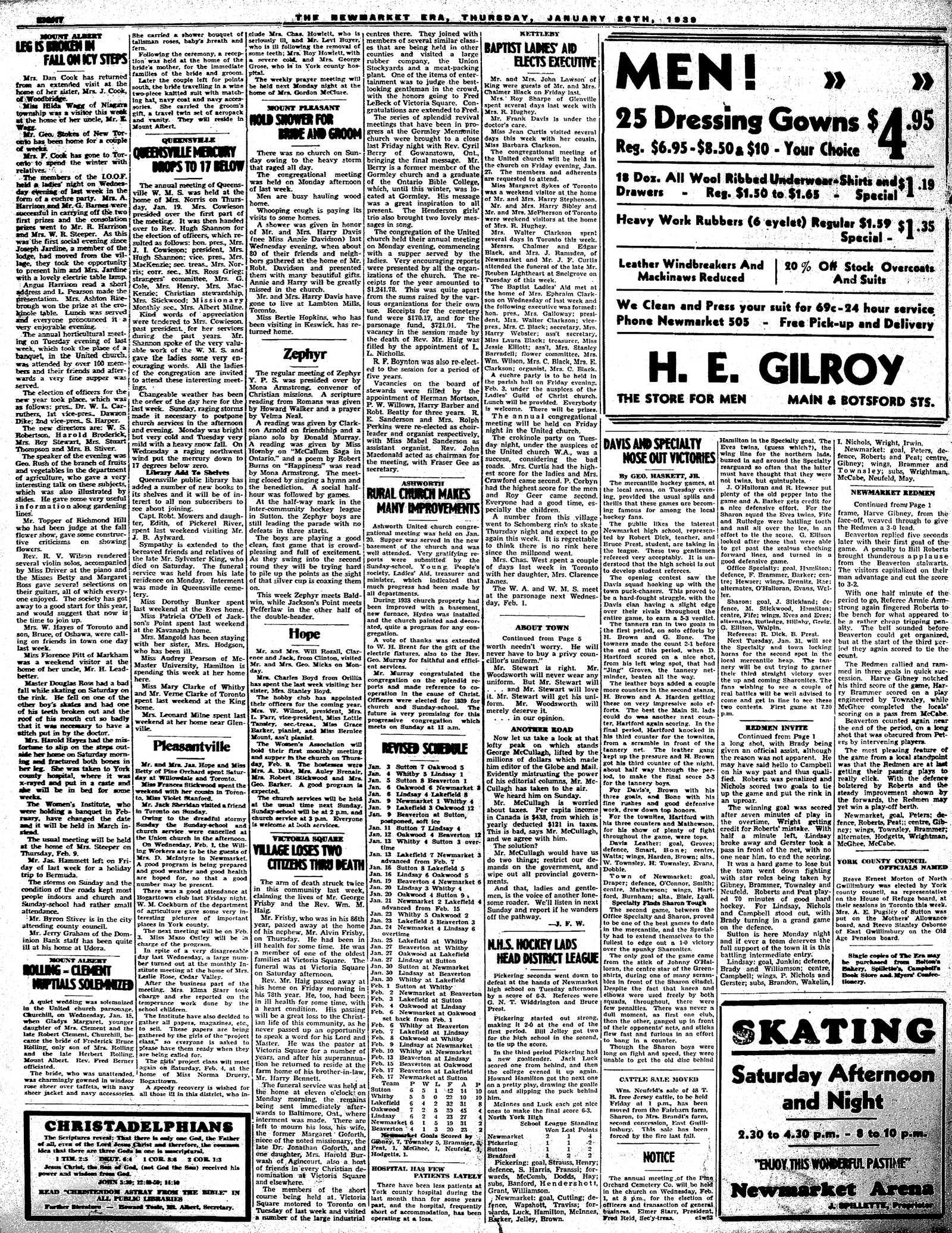 Newmarket Era (Newmarket, ON1861), January 26, 1939