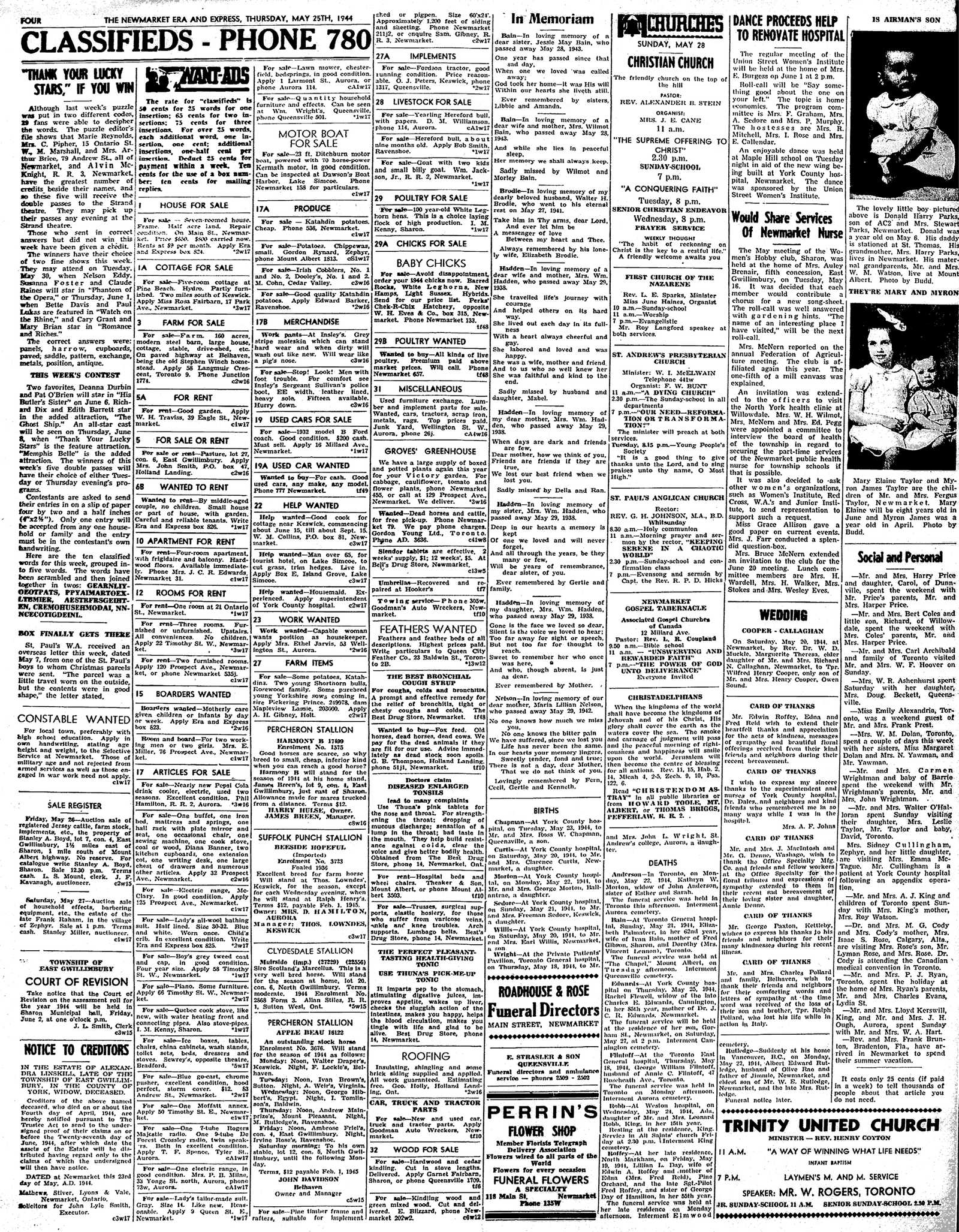 Newmarket Era and Express (Newmarket, ON), May 25, 1944
