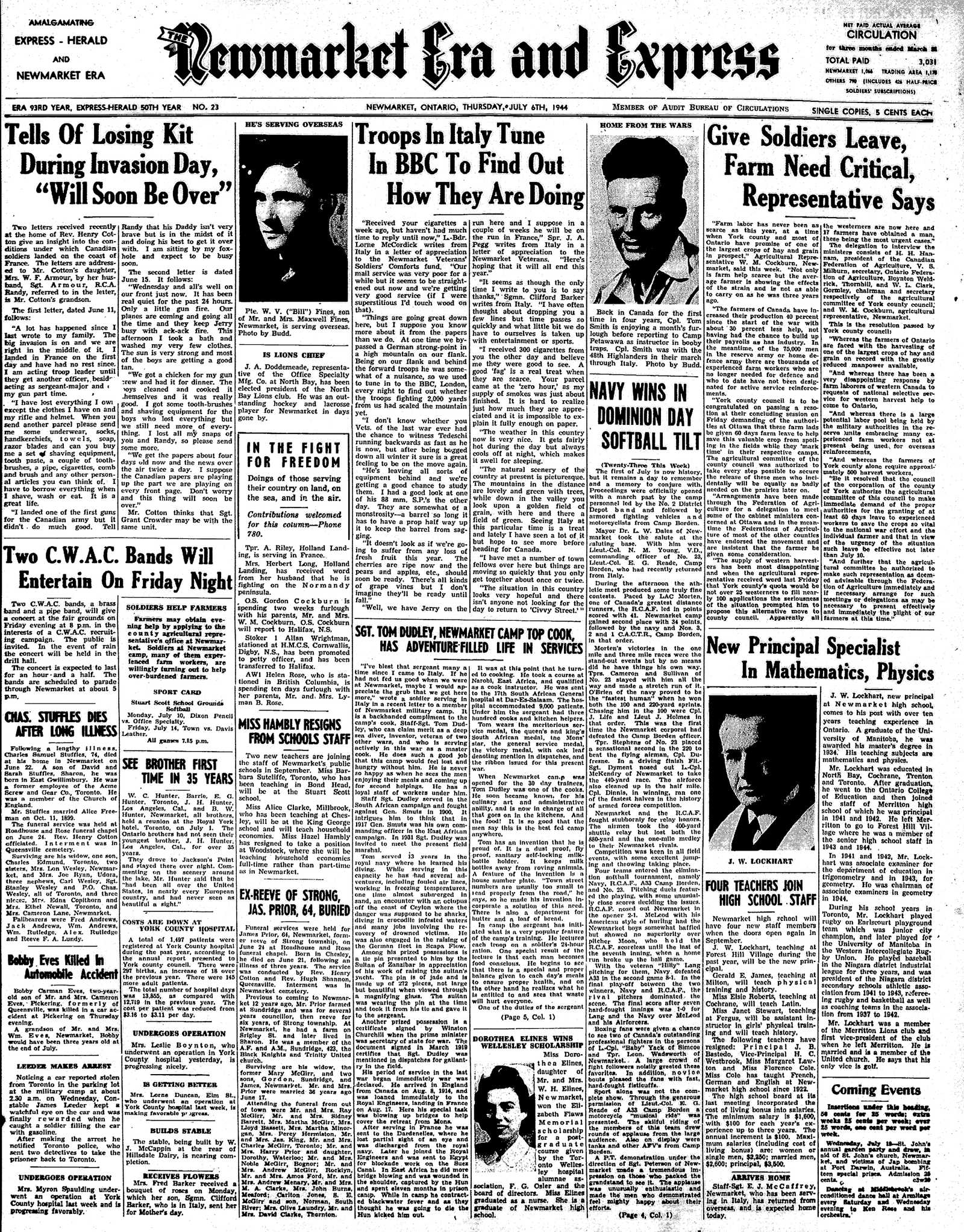 Newmarket Era and Express (Newmarket, ON), July 6, 1944