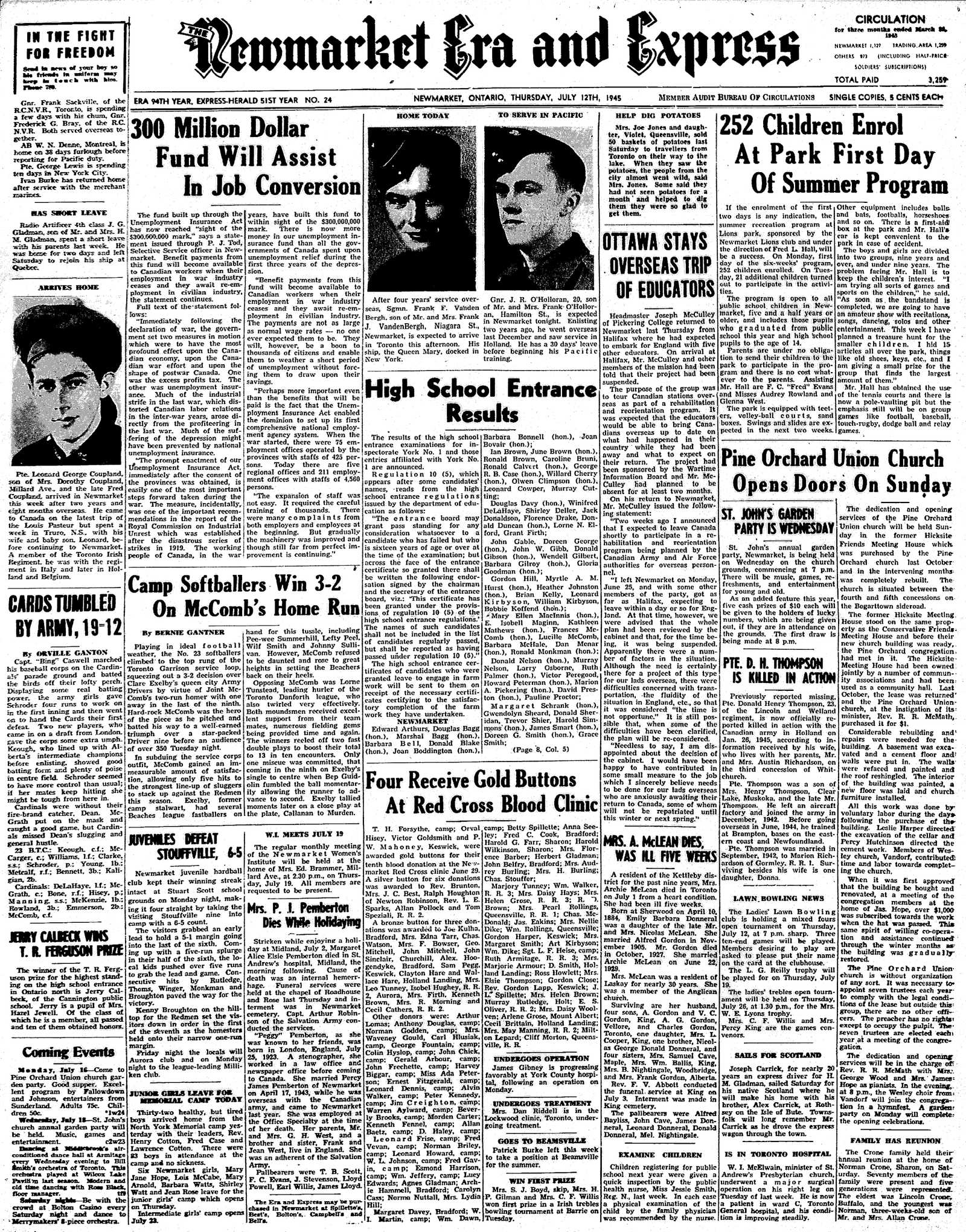 Newmarket Era and Express (Newmarket, ON), July 12, 1945