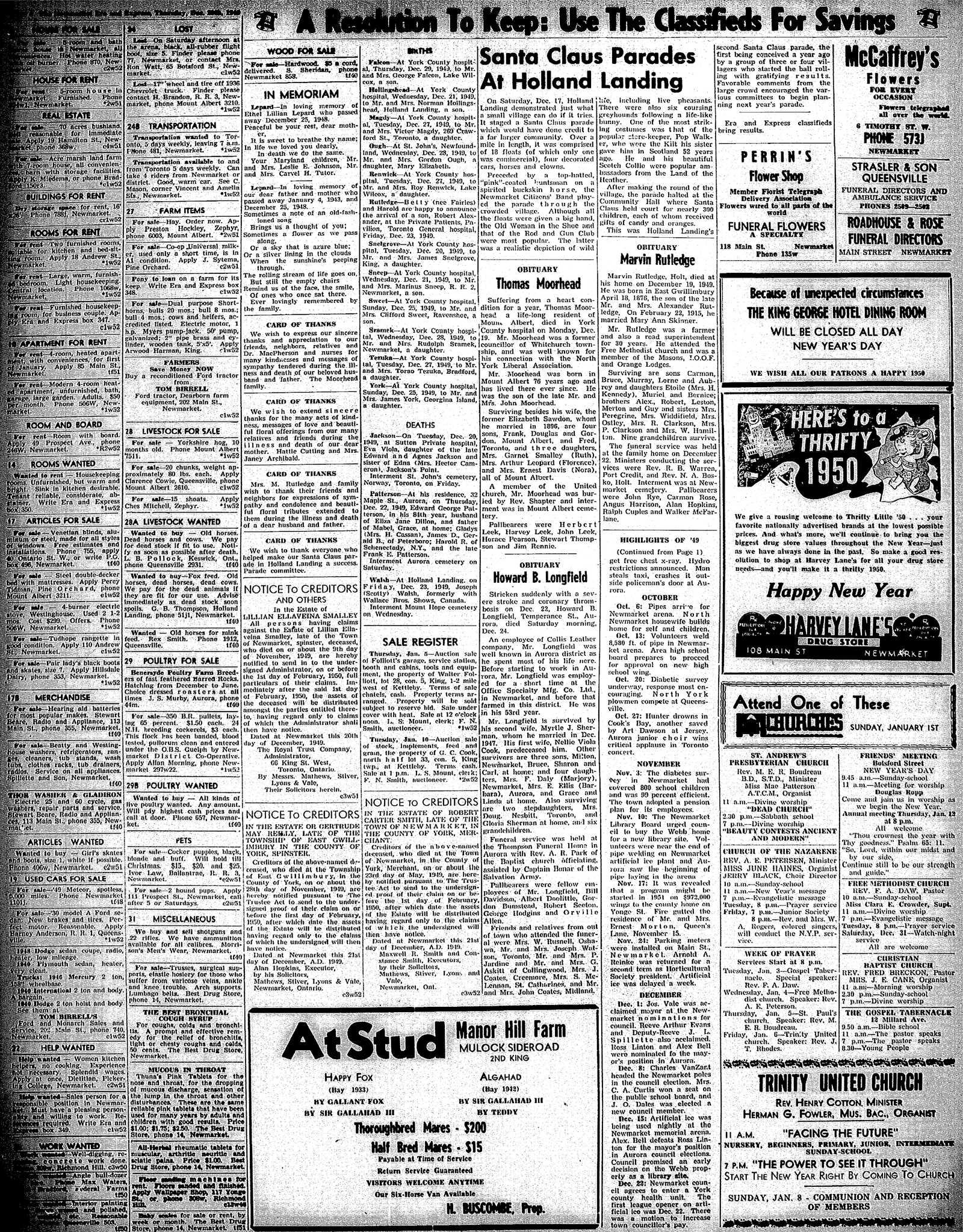 Newmarket Era and Express (Newmarket, ON), December 29, 1949
