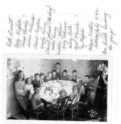 Photo of Wallace Everett's birthday party, 1942