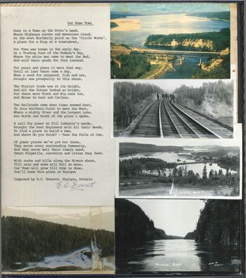 "Poem, from Mr. E.C. Everett, called ""Our Home Town"" and five photos."