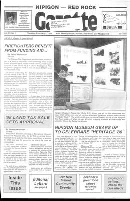 Nipigon Red-Rock Gazette, 2 Feb 1988