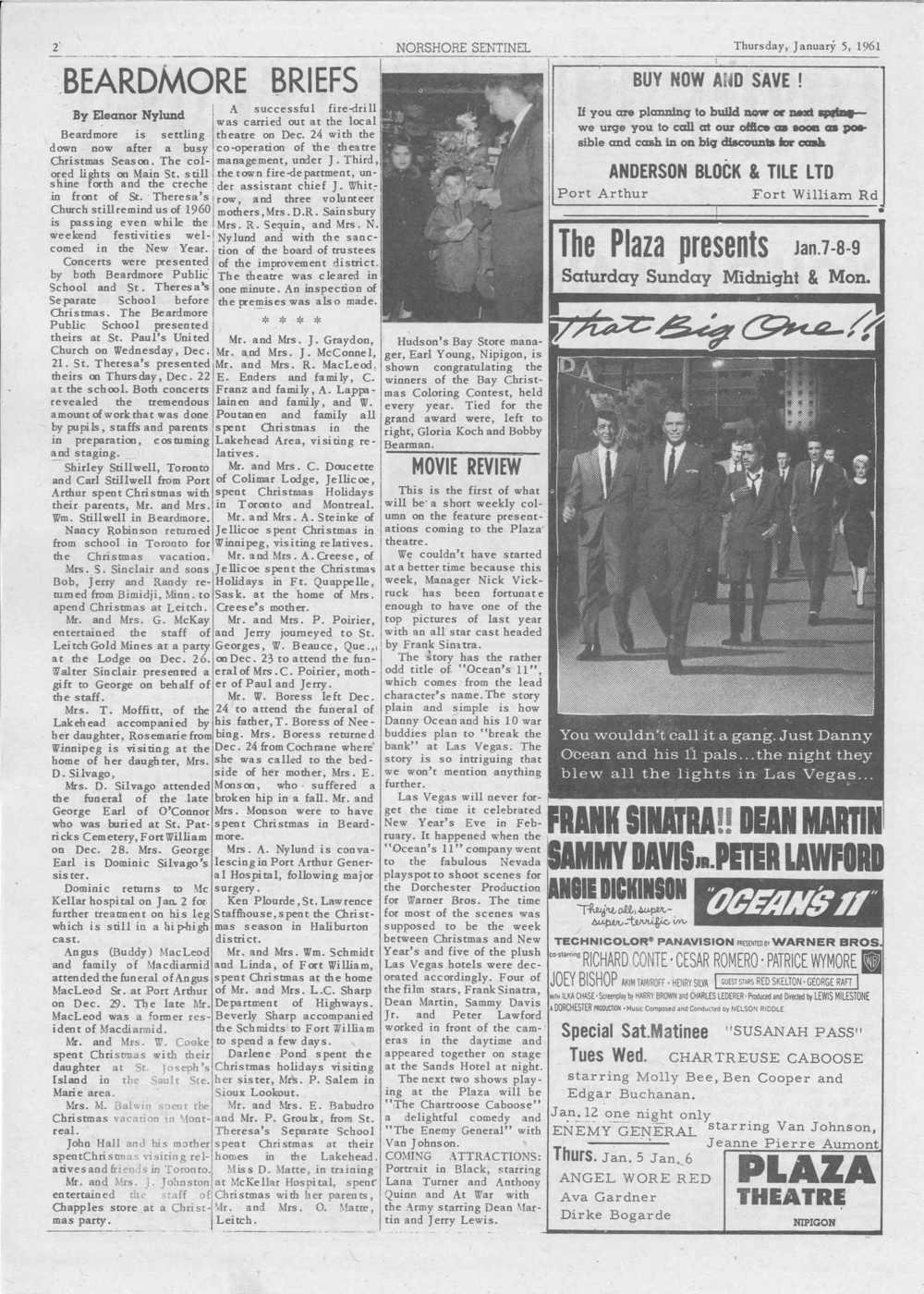 Norshore Sentinel (Nipigon, ON), 05 January 1961