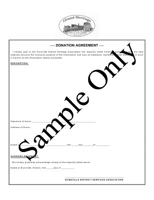 Haldimand Donor Form Sample