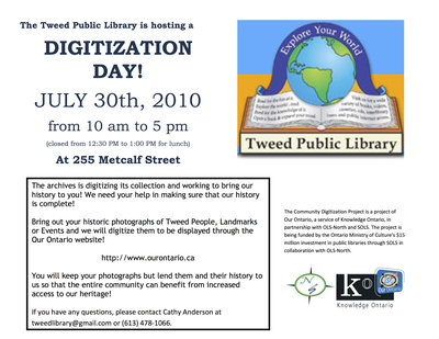 Digitization Day, Tweed Public Library