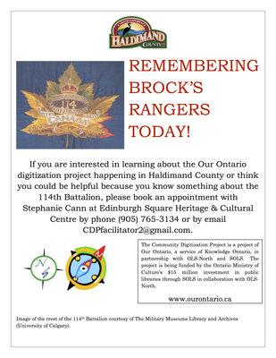 Remembering Brock's Rangers Today! Haldimand County Digitization Project flyer
