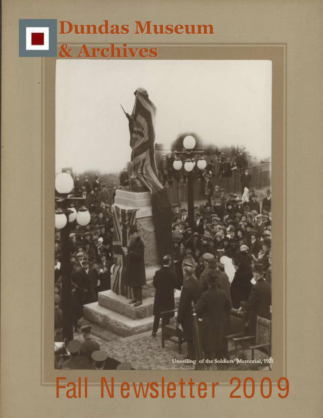 Dundas Museum & Archives, Fall Newsletter 2009