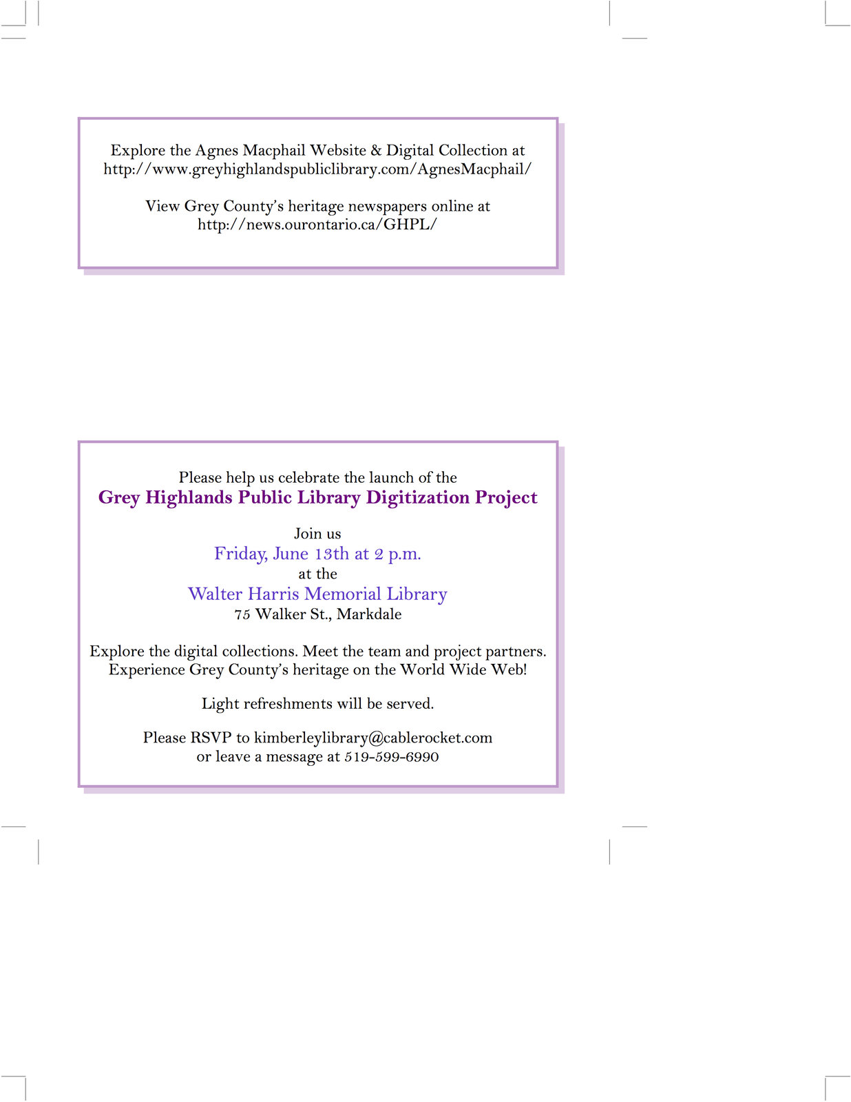 Grey Highlands Public Library, Digitization Project Launch Invitation