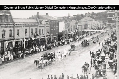 County of Brant Digital Collections postcard, Parade