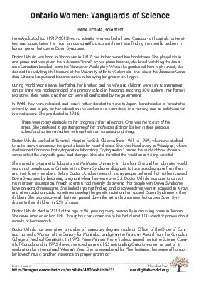Vanguards of Science: Irene Uchida (one page)