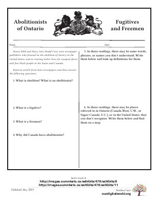 Abolitionists: Activity Sheets