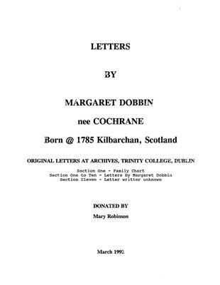 Letters by Margaret Dobbin née Cochrane, born 1875 at Kilbarchan, Scotland