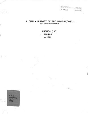 A family history of the Humphreys [Humphrys, Humphrey, Humphry] and their descendants, Archdalle [Archdale], Marks, Allen
