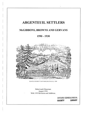 Argenteuil settlers : McGibbons, Browns and Gervans, 1590-1930