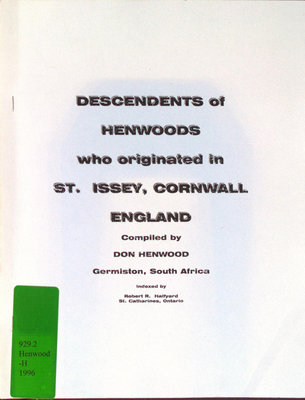 Descendents of Henwoods who originated in St. Issey, Cornwall, England