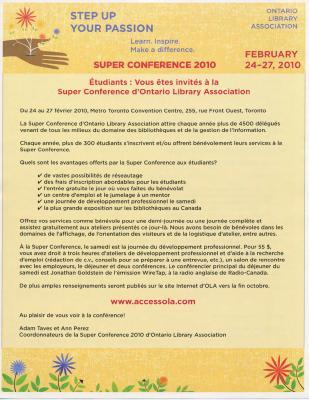 OLA Super Conference 2010: Students invitation flyer