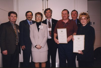 Deputy Minister of Culture Lucille Roch with award winners at Super Conference 2000