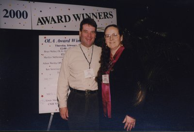 Mike Budd and Diane Bédard at the 2000 OLA Awards ceremony