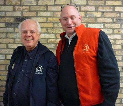 "Jefferson Gilbert and Larry Moore in ""vintage"" Super Conference volunteer vests"