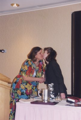 Vivian Lewis greets Leila Wallenius