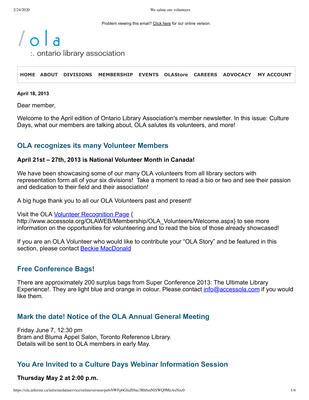 OLA eNewsletter (Toronto, ON: Ontario Library Association), 18 Apr 2013