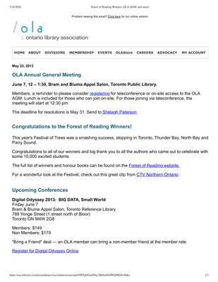 OLA eNewsletter (Toronto, ON: Ontario Library Association), 23 May 2013