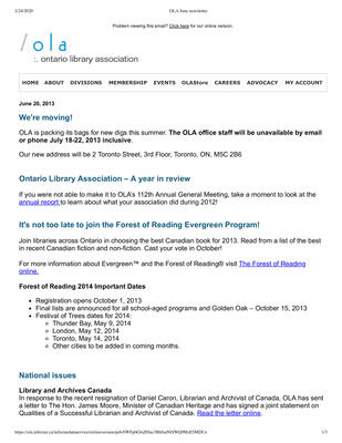 OLA eNewsletter (Toronto, ON: Ontario Library Association), 20 Jun 2013