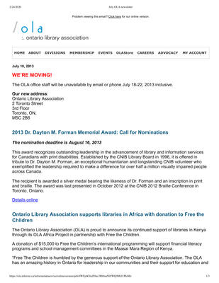 OLA eNewsletter (Toronto, ON: Ontario Library Association), July 2013
