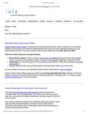 OLA eNewsletter (Toronto, ON: Ontario Library Association), 17 Oct 2013