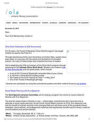 OLA eNewsletter (Toronto, ON: Ontario Library Association), 22 Nov 2013