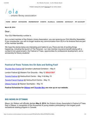 OLA eNewsletter (Toronto, ON: Ontario Library Association), 20 Mar 2014