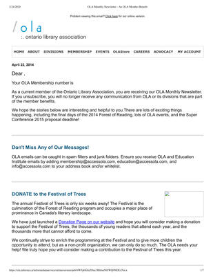 OLA eNewsletter (Toronto, ON: Ontario Library Association), 22 Apr 2014