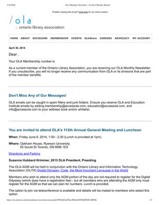 OLA eNewsletter (Toronto, ON: Ontario Library Association), 30 Apr 2014