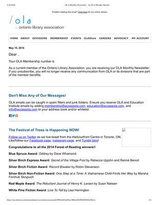OLA eNewsletter (Toronto, ON: Ontario Library Association), 15 May 2014