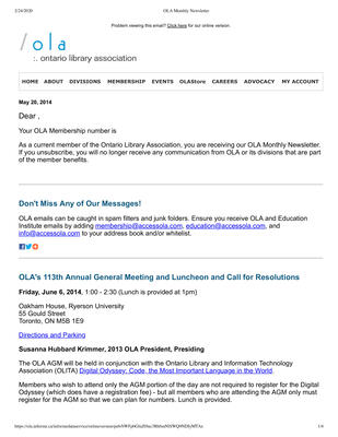 OLA eNewsletter (Toronto, ON: Ontario Library Association), 20 May 2014