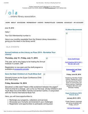 OLA eNewsletter (Toronto, ON: Ontario Library Association), 19 Jun 2014