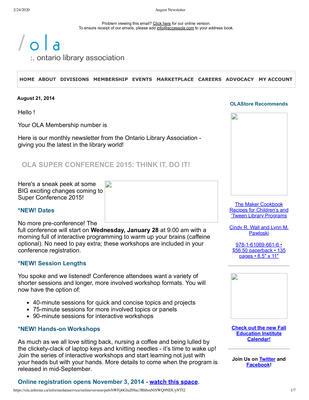 OLA eNewsletter (Toronto, ON: Ontario Library Association), 21 Aug 2014