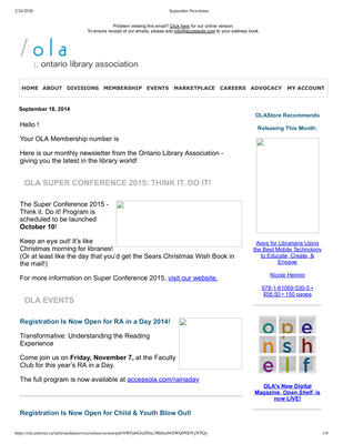 OLA eNewsletter (Toronto, ON: Ontario Library Association), 18 Sep 2014