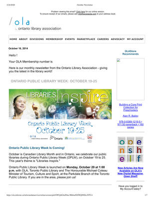 OLA eNewsletter (Toronto, ON: Ontario Library Association), 16 Oct 2014