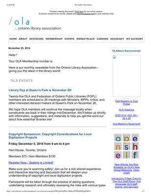 OLA eNewsletter (Toronto, ON: Ontario Library Association), 25 Nov 2014