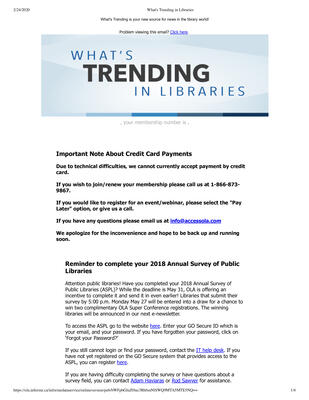 OLA eNewsletter (Toronto, ON: Ontario Library Association), 23 May 2019