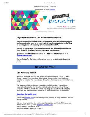 OLA eNewsletter (Toronto, ON: Ontario Library Association), 13 Jun 2019