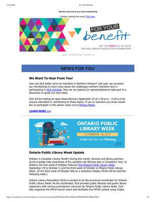 OLA eNewsletter (Toronto, ON: Ontario Library Association), 8 Aug 2019