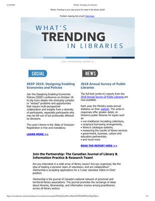 OLA eNewsletter (Toronto, ON: Ontario Library Association), 26 Sep 2019