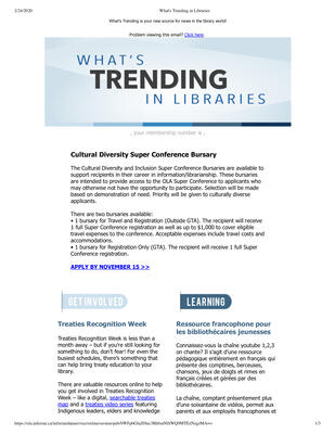 OLA eNewsletter (Toronto, ON: Ontario Library Association), 24 Oct 2019