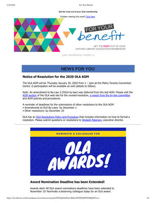 OLA eNewsletter (Toronto, ON: Ontario Library Association), 7 Nov 2019