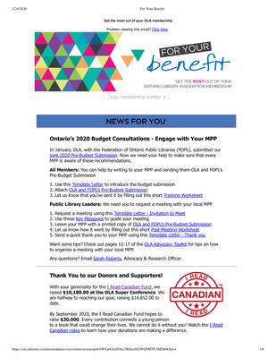 OLA eNewsletter (Toronto, ON: Ontario Library Association), 13 Feb 2020